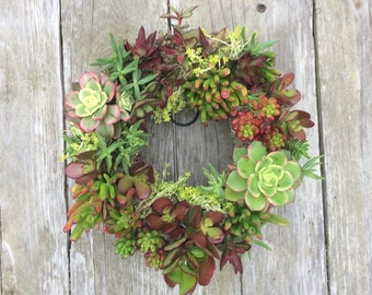 """Special Red Colors - 11"""" Succulent Wreath"""