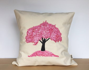 Throw pillow, custom pillow, tree pillow, hand painted pillow cover, canvas pillow, housewarming gift, decorative pillow