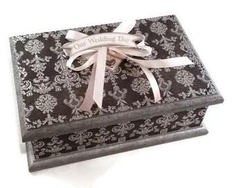 Silver Wedding Box, Keepsake Box, Memory box, Treasure Box, Trinket Box, Jewellery Box, Wooden Box