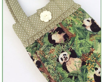 Tablet bag / iPad sleeve / bag with handles / girls iPad bag /  pandas / iPad case / iPad air 5 bag / padded iPad bag / novelty bag