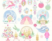 """Christmas clipart: """"WINTER FAIRYTALE"""" with winter clipart, winter fairy clipart, snow globe clipart, 26 images, 300 dpi. PNG files"""