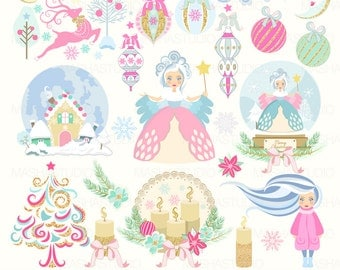 "Christmas clipart: ""WINTER FAIRYTALE"" with winter clipart, winter fairy clipart, snow globe clipart, 26 images, 300 dpi. PNG files"