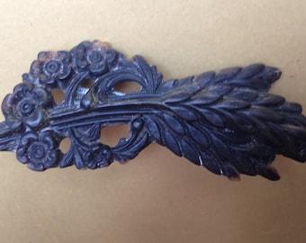 Antique Gutta-Percha Victorian Mourning Brooch