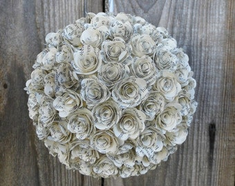 Book Paper Flower Ball,  Pomander, Kissing Ball, Decoration - Wedding Decor, Home Decor or Gift