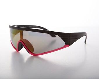 glass lens sunglasses polarized y6an  90s Mirror Lens Sport Wrap Vintage Sunglass Yellow Pink Blue Purple