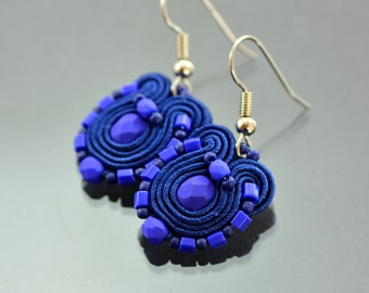 Small Blue Soutache Earrings Humming-bird - Navy Blue Soutache Earrings - Blue Soutache Jewelry - Orecchini Sutache - Small Ethnic Earrings