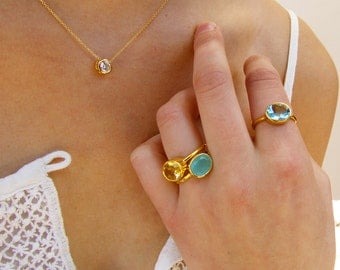 Oval Gemstone Ring - Gold Ring - Stackable Ring - Citrine Jewelry - Bezel Ring