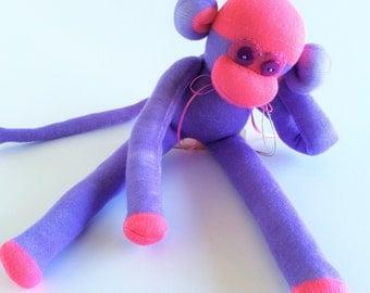 Sock Monkey-Purple and Fuchsia-Handmade-Monkey-Plush  *one of a kind*