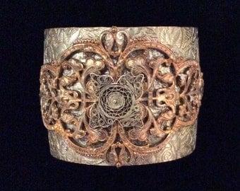 One-of-a-Kind Handmade Metal Cuff, Handmade Jewelry, Vintage Cuff, Handmade Bracelet