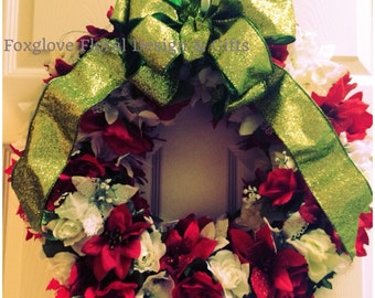 Christmas Candy Cane Floral Wreath