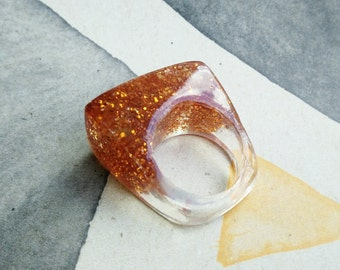 Orange Resin Ring - Chunky Ring -  Burnt orange Ring - Glitter Resin Bling Ring - Resin Jewellery - Resin Ring - Chunky Resin Ring- Size 6.5
