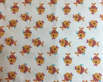 fish flannel fabric, fish flannel material, flannel by the yard, nursery fabric, new