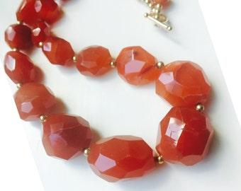Graduated Carnelian Stones and 14kt Gold Beads