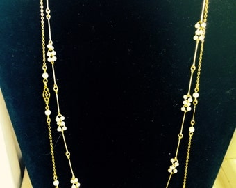 Two Vintage Gold Pearl Necklaces