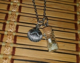 "Message in a Bottle Terrarium pendant necklace on 21"" silver chain"