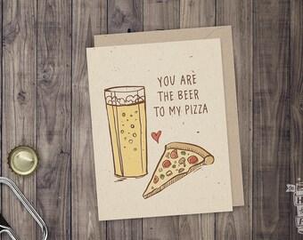 Beer & Pizza Folded Card; Beer Card, Craft Beer Lover, Beer Art, Greeting Card, Beer Glass, IPA, Pizza, Beer Pairing, Valentine's Day