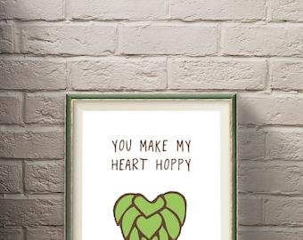 Happy Heart Beer Poster; Craft Beer, Beer Art, Home Decor, Poster Print, Beer Saying, Beer Lover, Anniversary, Beer Hops, IPA