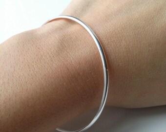 Silver Bangle 925/000 - Bangle Bracelet simple diameter 6.2 cm - 925 silver sterling bangle bracelet
