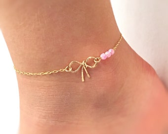 Bow Baby Anklet, baby ankle bracelet, baby opal jewelry, flower girl bow bracelet, flower girl gift, baby knot anklet, baby opal anklet opal