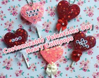 Customizable Resin Valentines Day Heart Lollipops