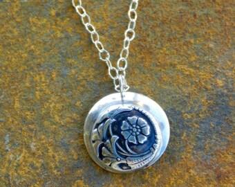 Necklace Fine Silver Precious Metal Clay Vintage Art Deco Design