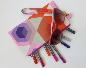 Mae Mini Wristlet ***Made to Order*** in Hexagon Canvas