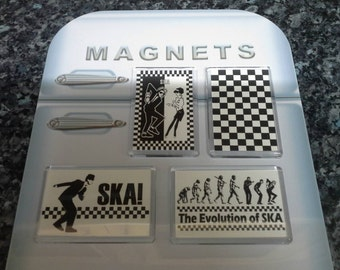 Ska Fridge Magnet Set. Iconic 80's Artwork. Madness, The Specials. Black and White Checkers