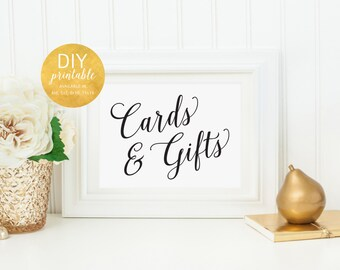 PRINTABLE Wedding Cards and Gifts Table Sign, Cards Wedding Sign, Gifts and Cards Sign, Cards Sign for Wedding Cards and Gift Sign, WIS04