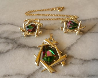 """Vintage Sarah Coventry 1964 """"Chinese Modern"""" with Heliotrope Glass Pendant and Matching Earrings SET"""