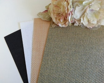 Bamboo paper - Burlap paper - A4 weave card, Hessian paper,  Mesh Natural, White, Black Woven textured rustic invitations - Pure Invites