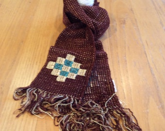 Handwoven chocolate brown chenille scarf with geometric inlay