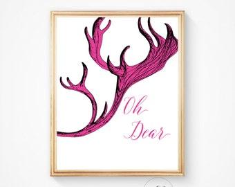 Deer wall art, Deer print, Pink print, pink deer print, Antler art, antler wall print, deer head print, deer wall print, antler print