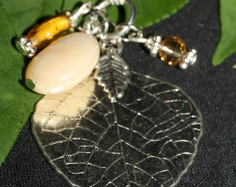 Aspen Leaf & Gemstone Statement Charm Necklace - Spirit Work, Protection- Pagan, Wicca, Witchcraft