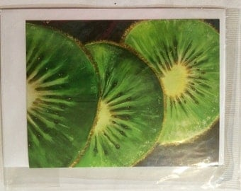 Kiwi fruit greeting card. By Murwillumbah artist Di Neville. From her painting