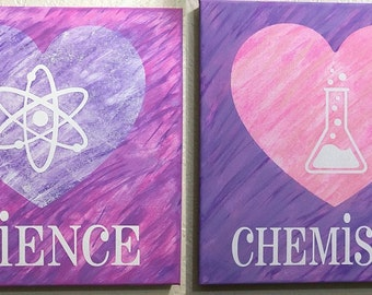 Girl room decor science chemistry paintings - set of two