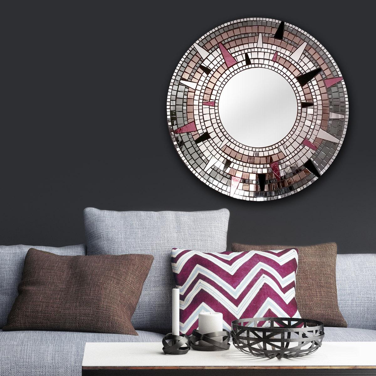 Round Mosaic Wall Decor : Handmade round mirror sparkly wall decor mosaic