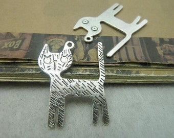 20 Large Cat Charms Antique Silver Tone  -DYS6028