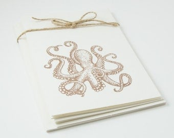 Octopus Blank Cards Folded Set of 5 hand stamped teacher gift with envelopes ocean sealife beach