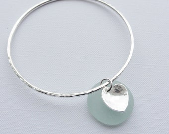Sterling Silver Stacking Bangle with Heart Charm - Choose Size and Thickness