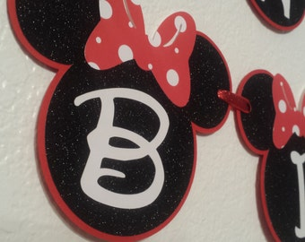 Minnie Mouse Birthday Banners,Red and Black Glitter Minnie Mouse,Minnie Mouse party decorations