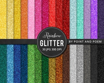 50% OFF SALE Glitter Digital Paper, Rainbow Glitter, Colorful Glitter Texture, Glitter Background - Commercial Use