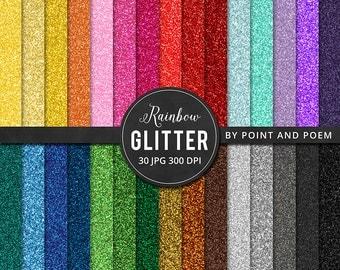 Glitter Digital Paper, Rainbow Glitter, Colorful Glitter Texture, Glitter Background /instant download/