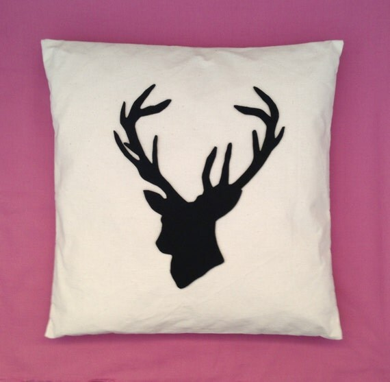 Shabby Chic Deer Pillow : Stag Natural Cream Cotton Unique Cushion Pillow Cover Black