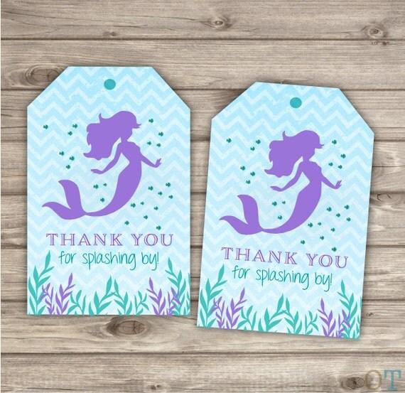 Wedding Favor Ideas Mermaid: Custom Wording Mermaid Thank You Tags Purple And Teal With