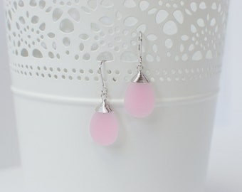 Silver and Pink Drop Earrings
