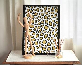 A3 white and gold leopard print