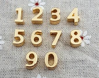 9mm 0-9 full set number charm pendant Beads MT0980