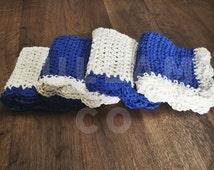 Crochet Wash Cloths - Crocheted Cotton Dish Cloths - Cotton Wash Cloth Face Cloth - Blue Crochet Dish Cloths
