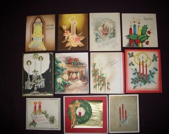 Christmas Cards Vintage Set of Eleven, Used, 1940's-1950's Candle Scenes