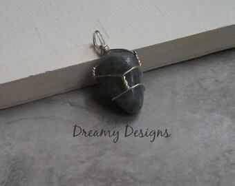 Light Blue Stone - Wire Wrapped Polished Stone Pendant